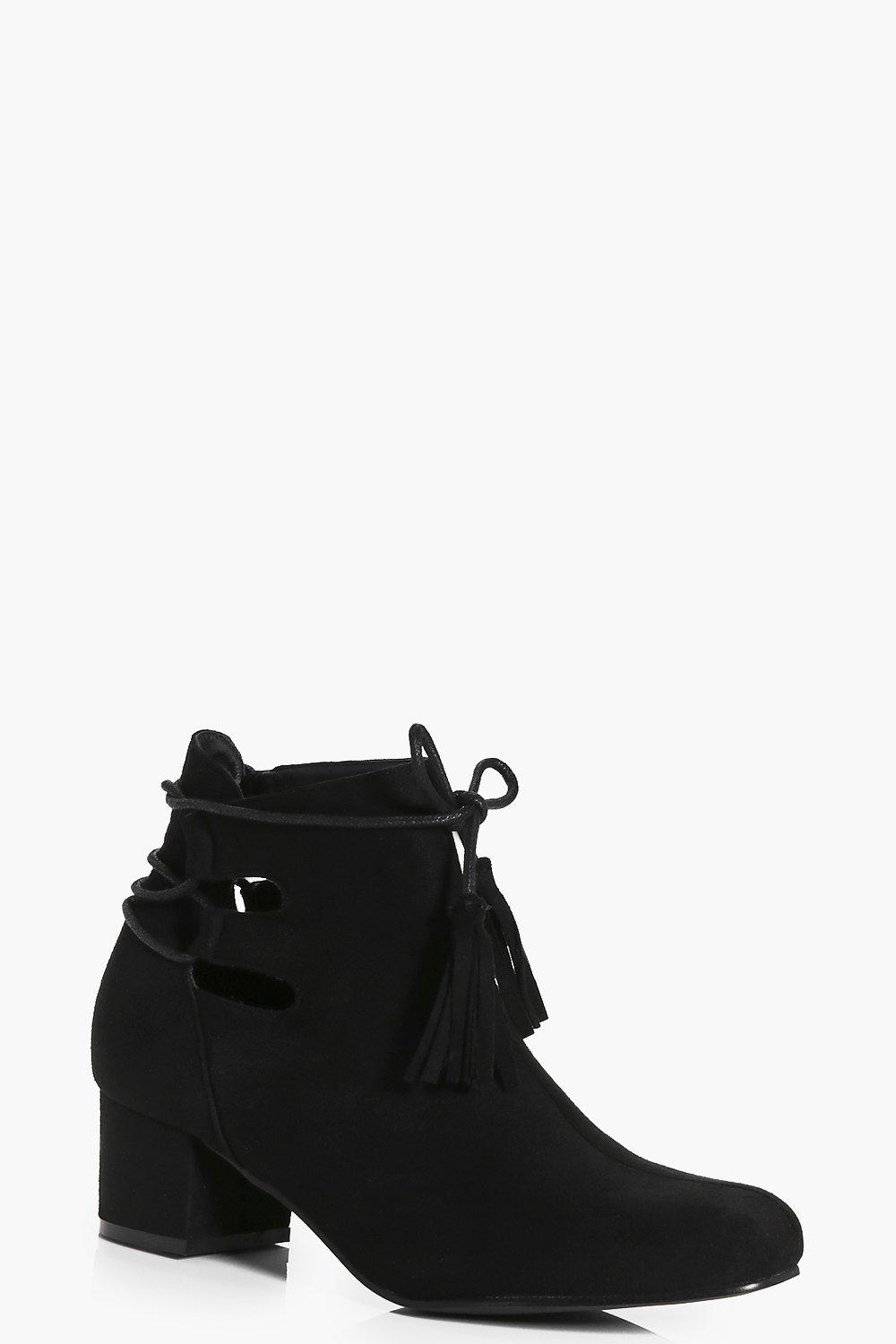Jemima Lace Back Low Block Heel Boot