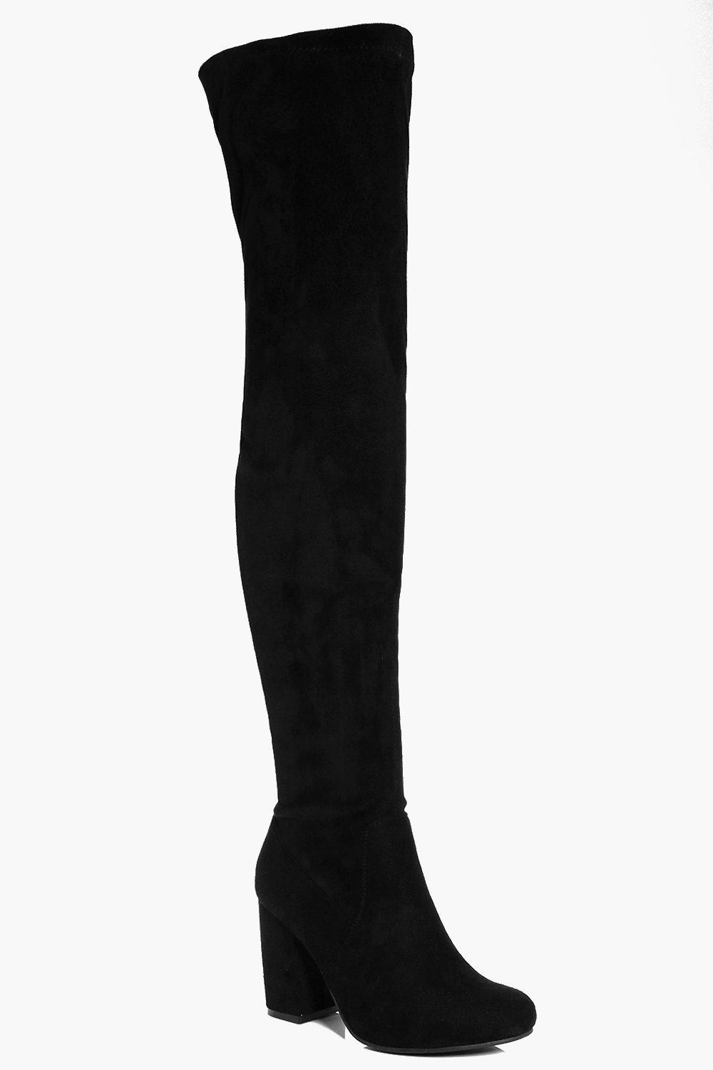 Lilly Block Heel Over The Knee Boot at boohoo.com