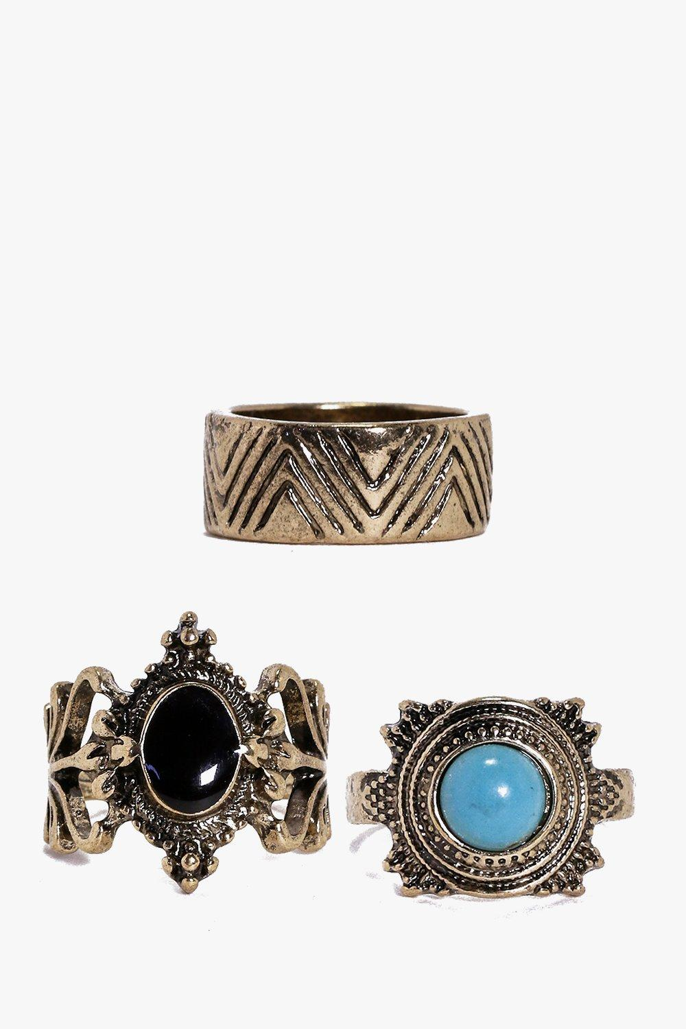 Ella Large Stone And Chevron Band Ring Pack
