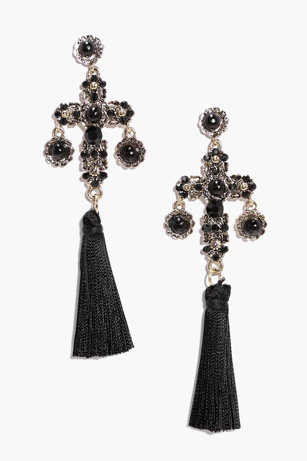 Mia Stone Cross Tassle Statement Earrings