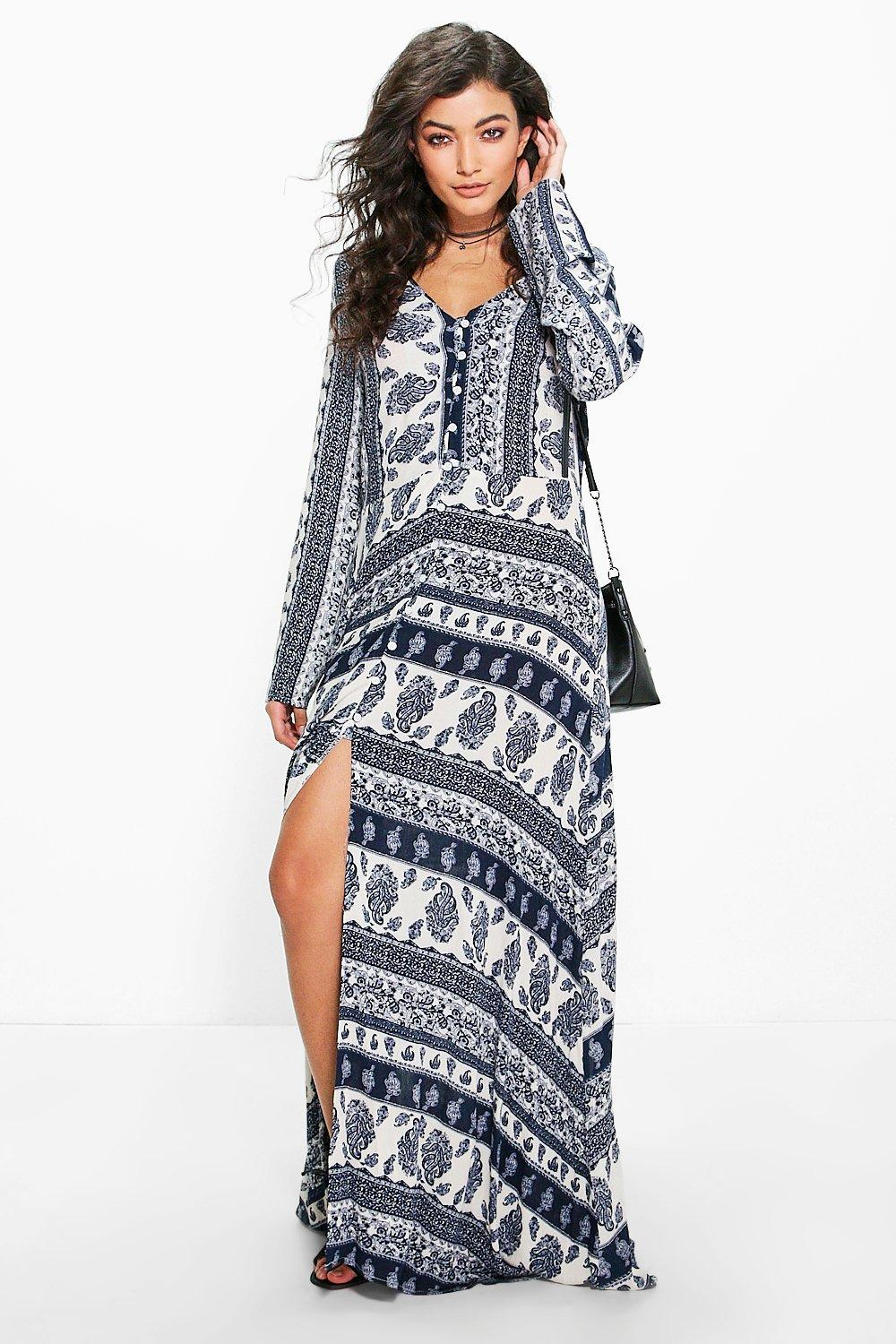 Anna Paisley Printed Boho Maxi Dress