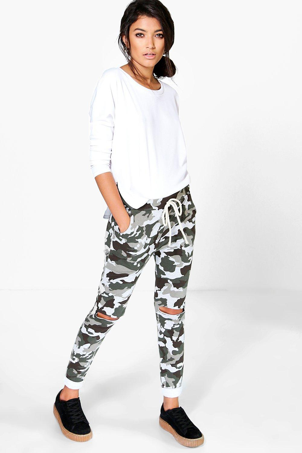 Carmela Loopback Camo Printed Knitted Joggers