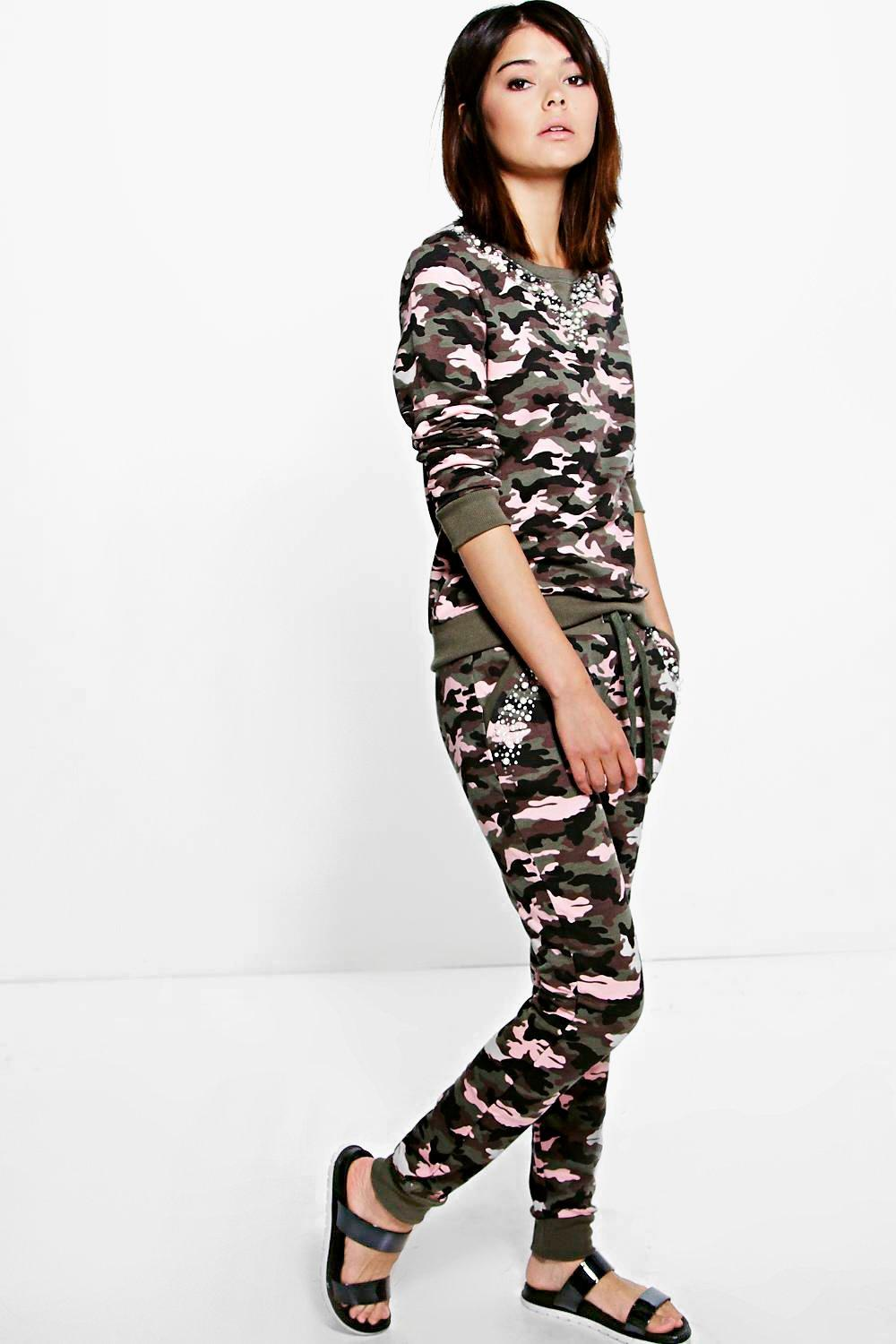 Boutique Erin Pearl Camo Knitted Loungewear Set