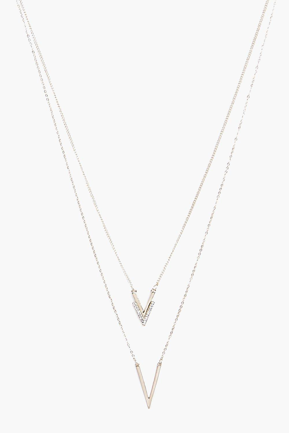 Ella Simple Chevron Layered Skinny Necklace