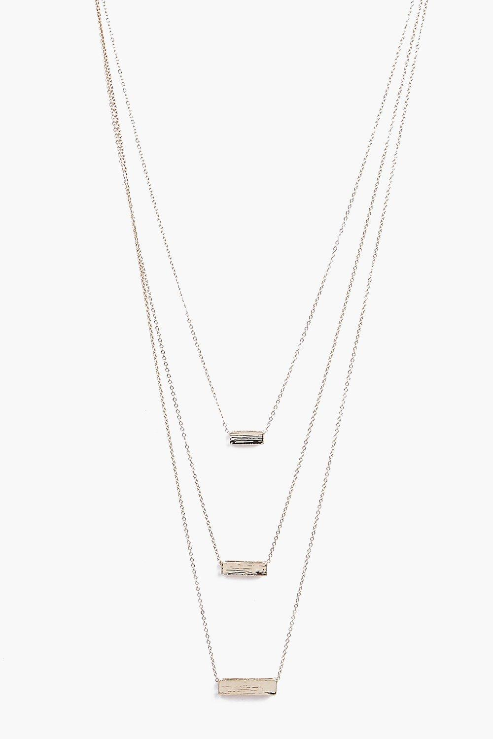 Lucy Block Pendant 3 Layered Necklace