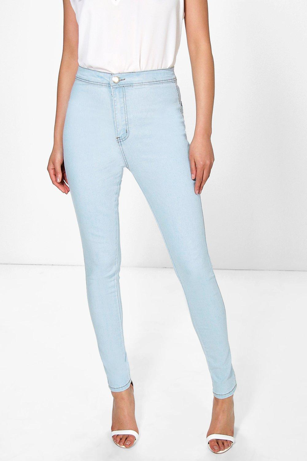 Lara High Rise Bleach Wash Skinny Jeans