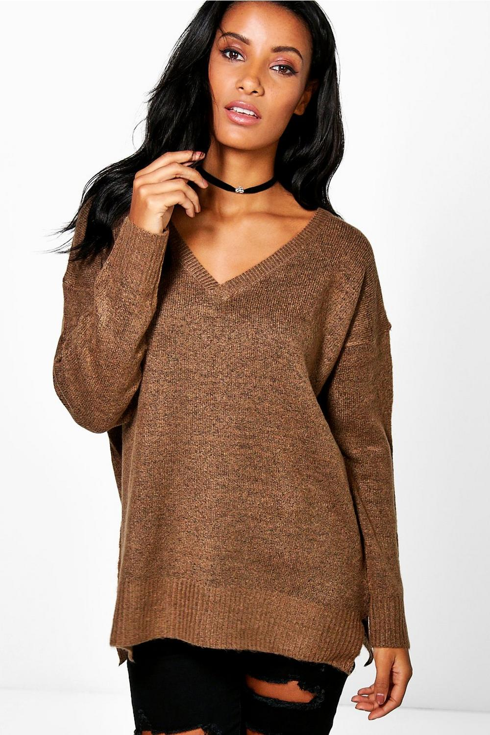 Phoebe V Neck Soft Knit Melange Jumper