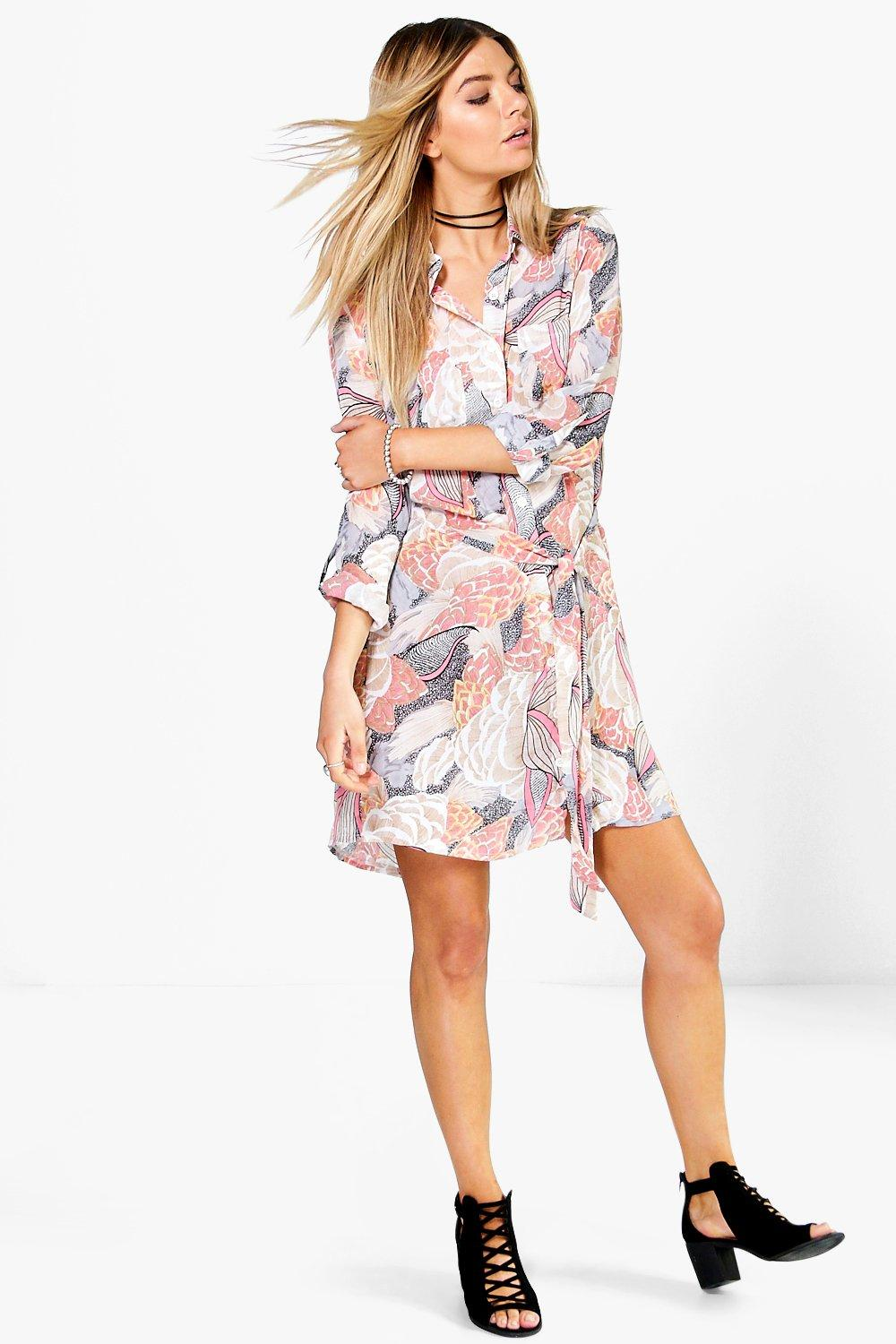 Maisy Floral Tie Waist Shirt Dress