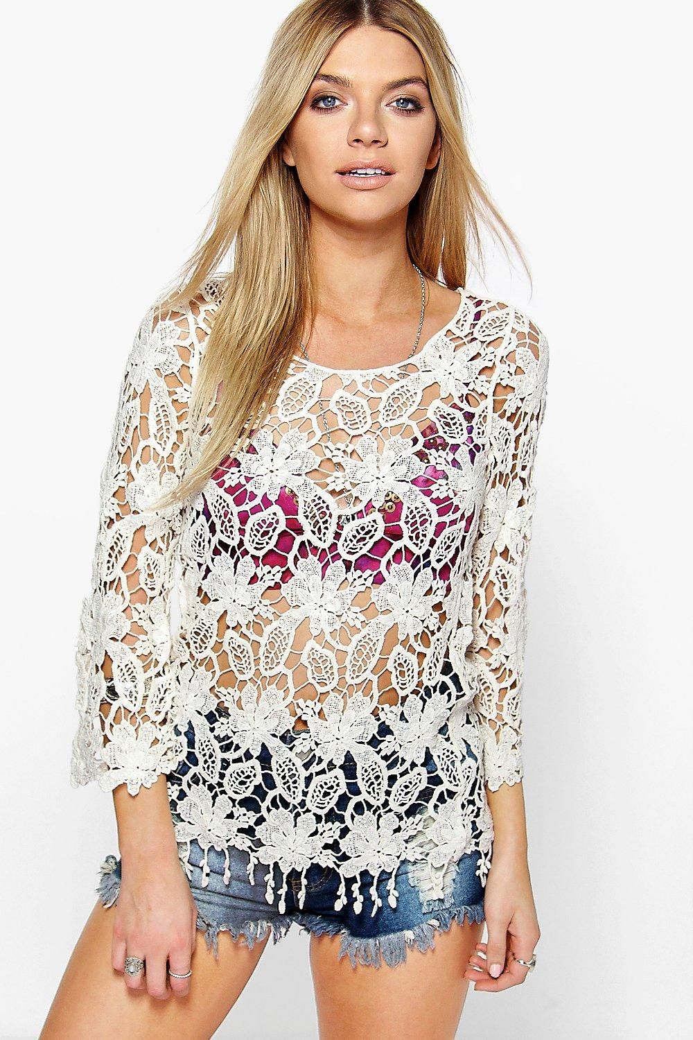Cara Floral Crochet Long Sleeve Top