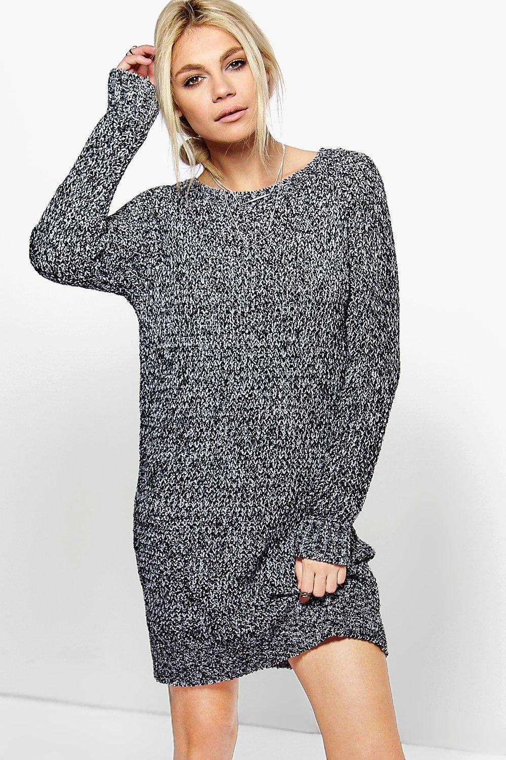 Amber Marl Boucle Knit Mini Dress