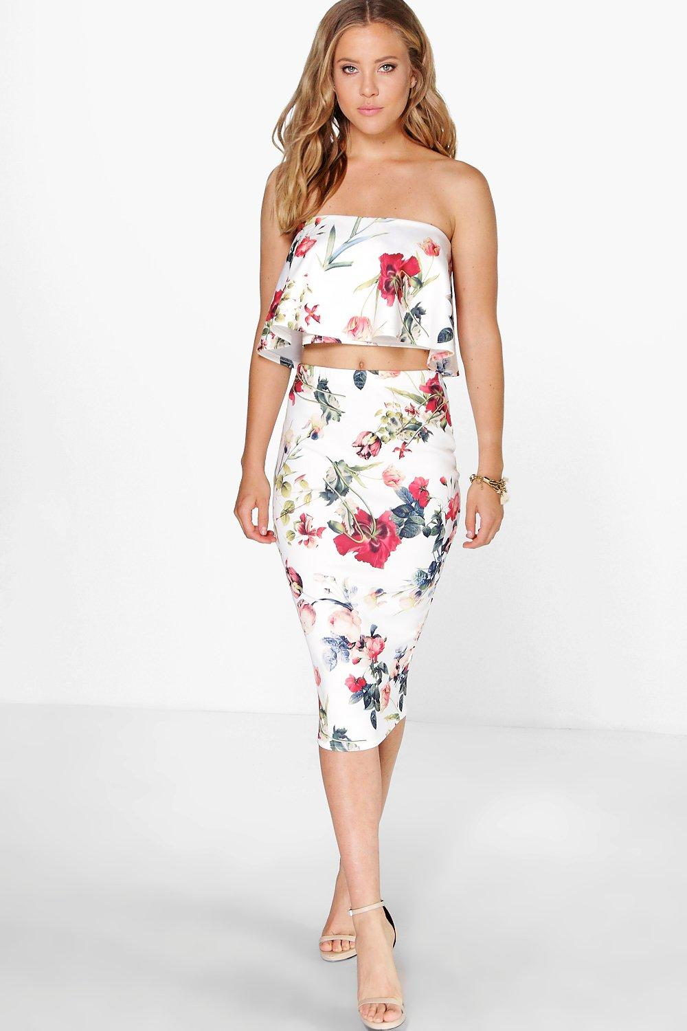 Emily Floral Frill Top And Midi Skirt Co Ord