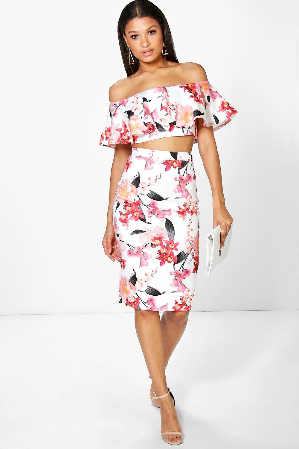 Una Floral Off The Shoulder Crop And Midi Skirt