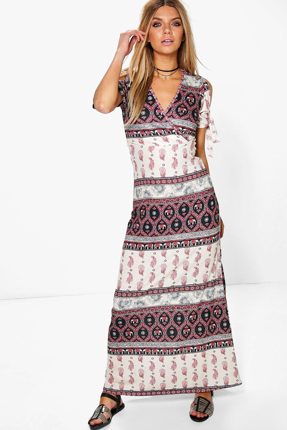 Amy Elephant Printed Cold Shoulder Maxi Dress