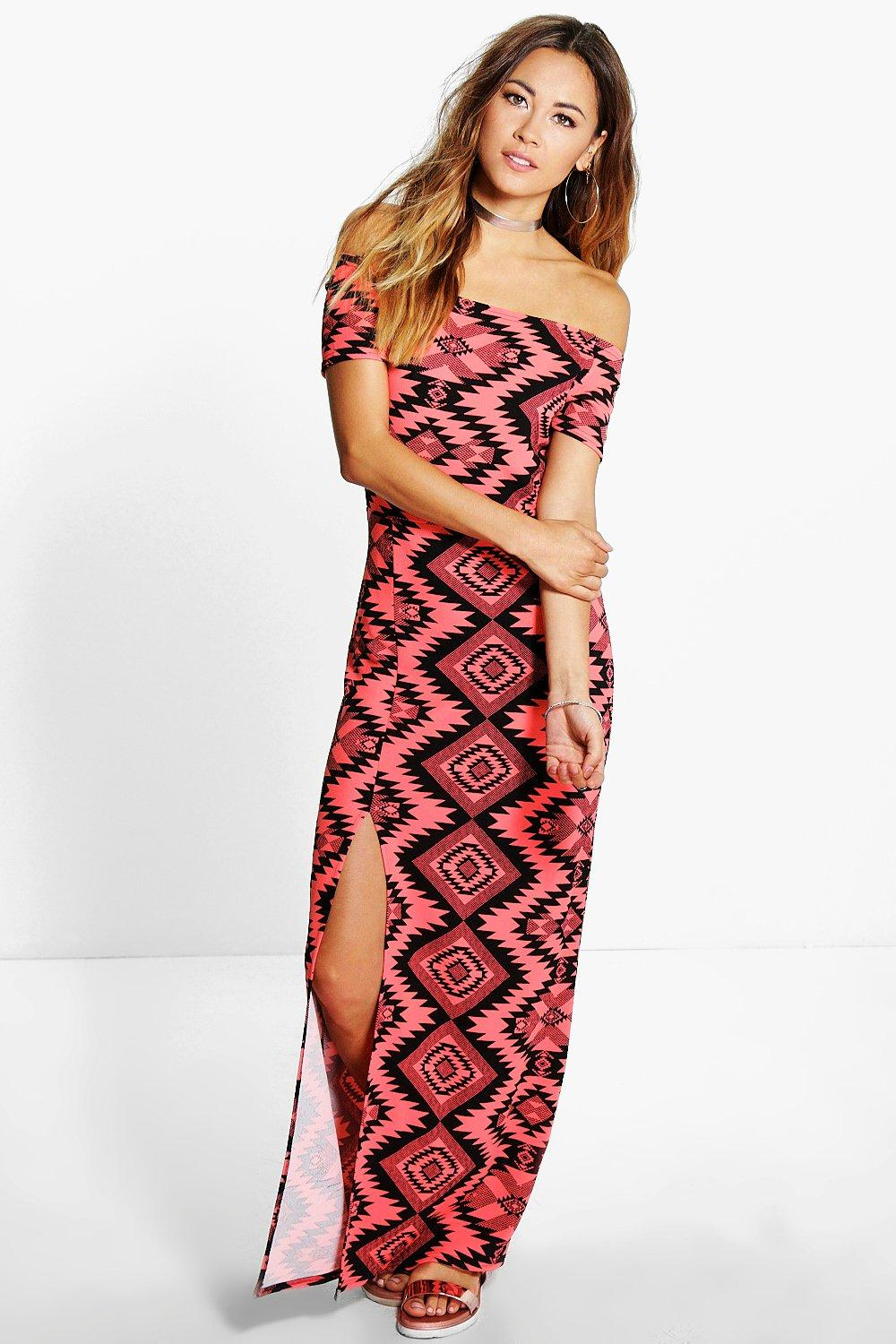 Megan Off Shoulder Ethnic Printed Maxi Dress