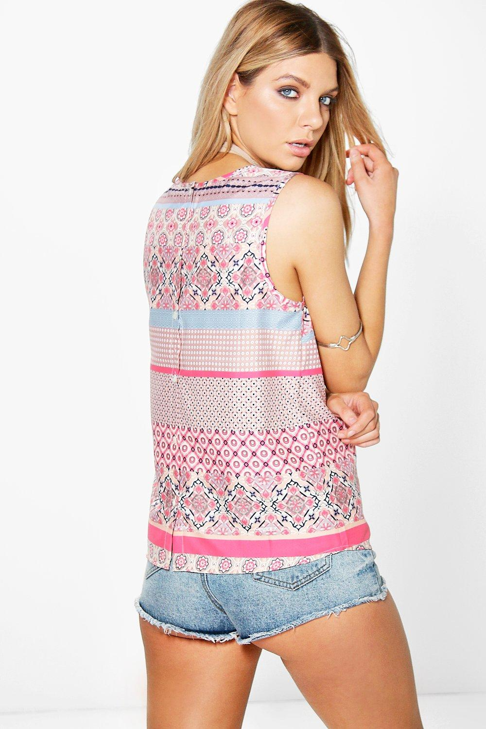 Claire Woven Printed Button Back Shell Top