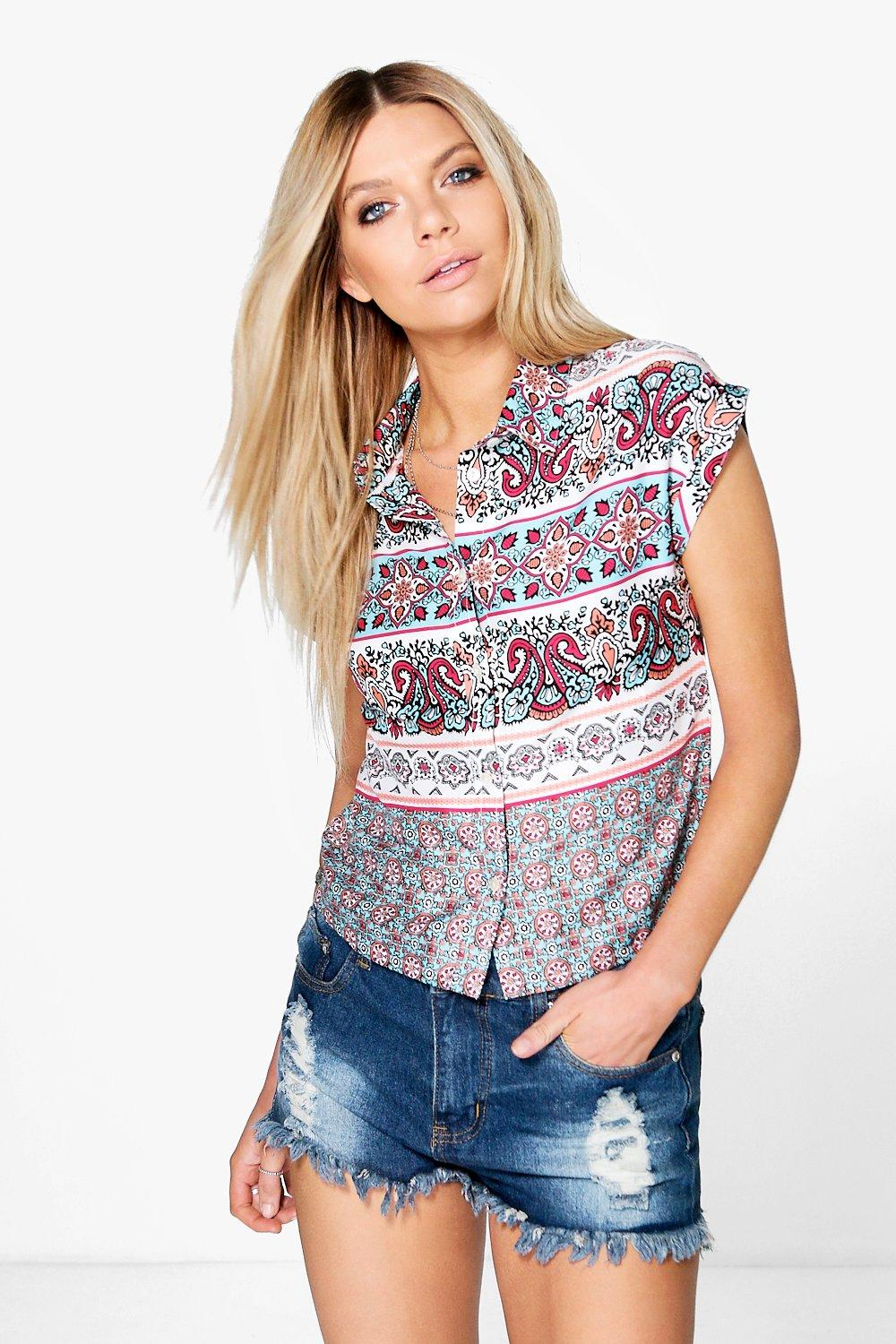 Sarah Printed Button Crop Shirt