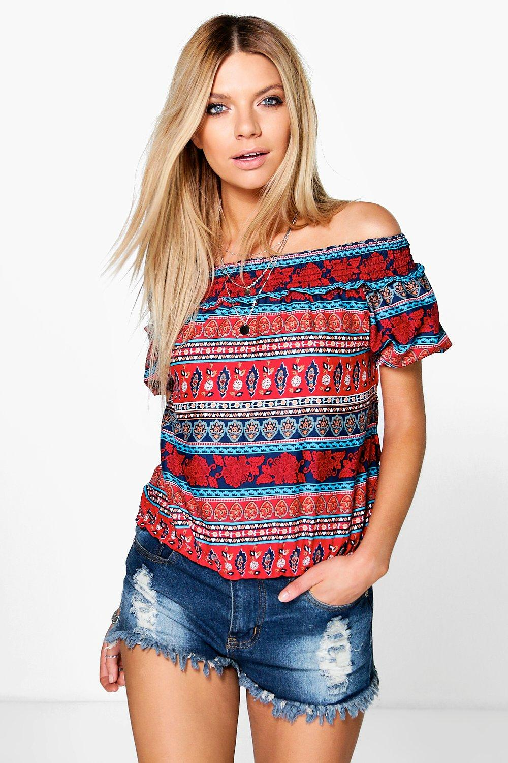 Bonnie Cold Shoulder Woven Print Gypsy Crop