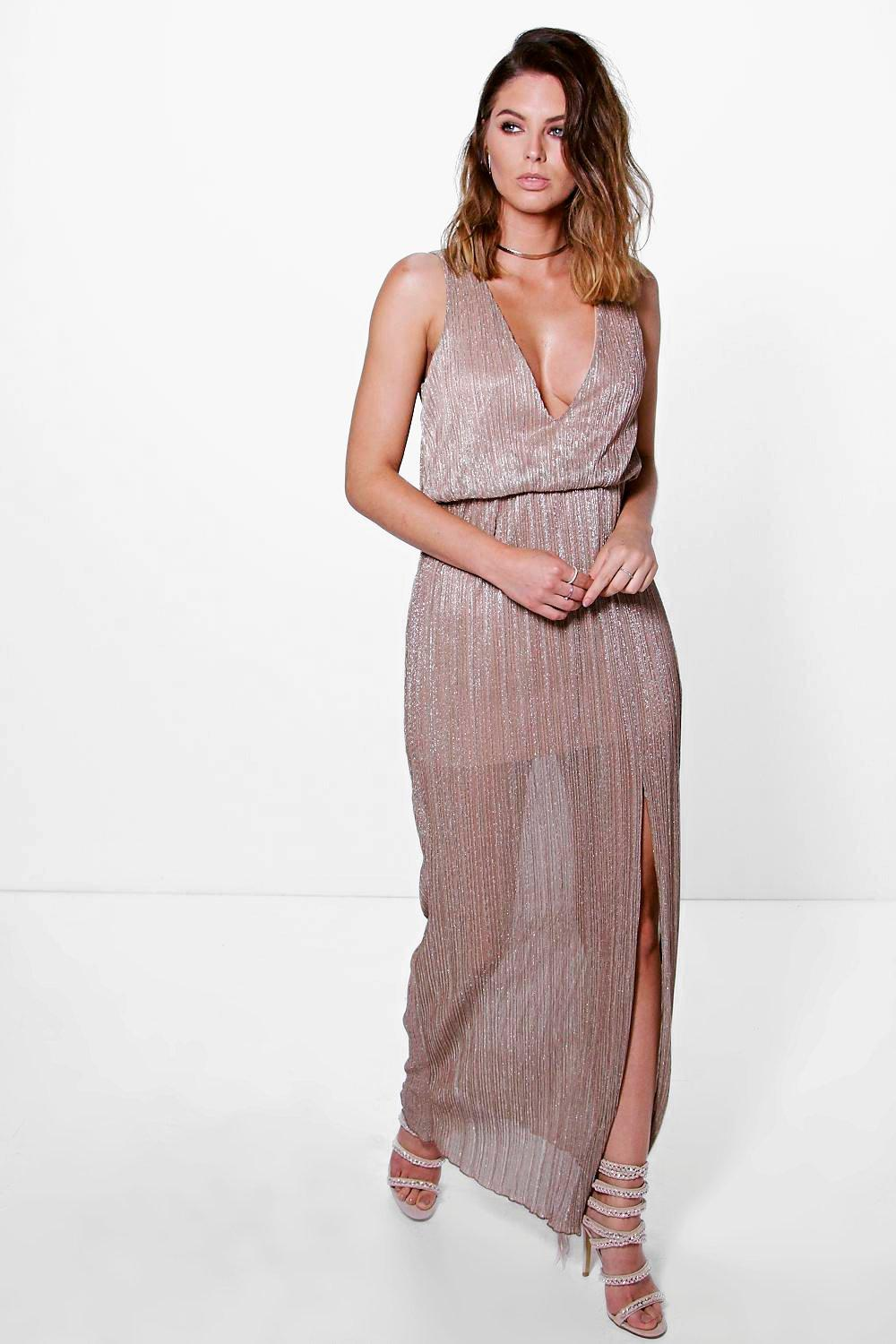 Eve Plunge Metallic Pleated Maxi Dress