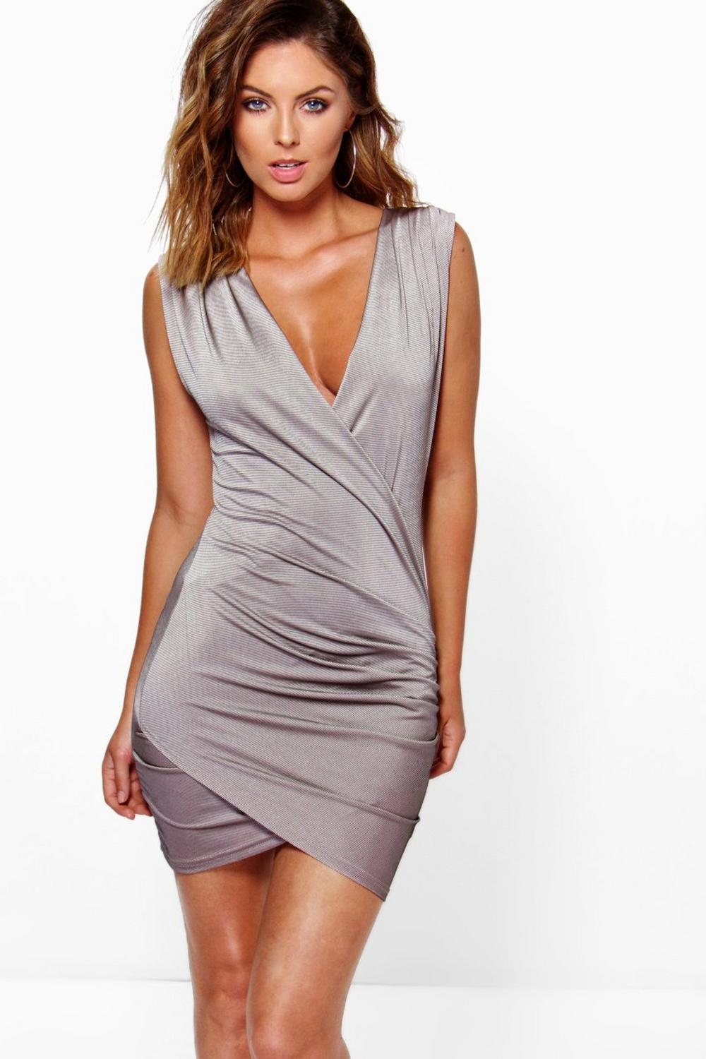 Mimi Slinky Rib Wrap Front Sleeveless Bodycon Dress