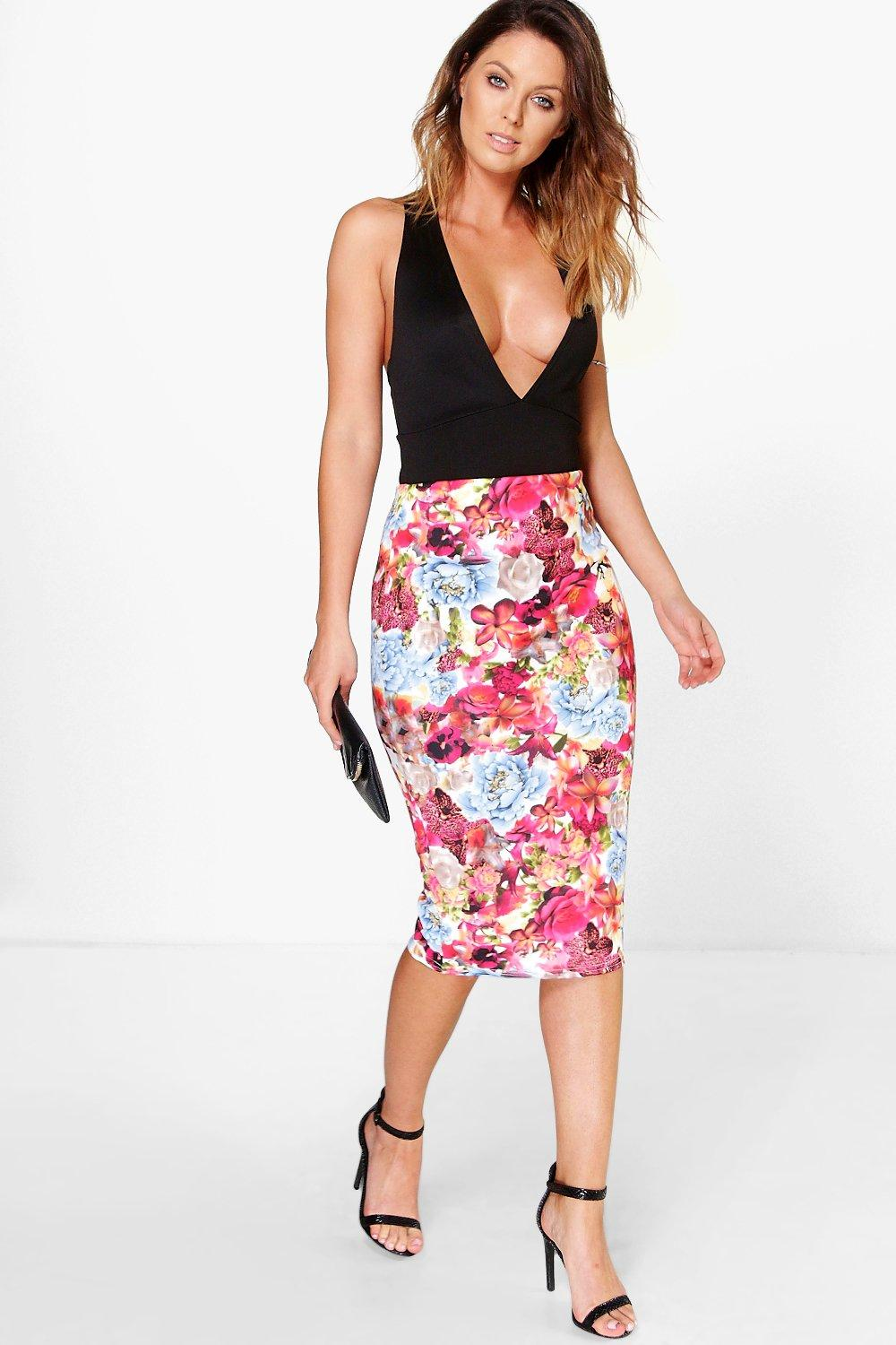 Alice Bright Floral Bodycon Midi Skirt