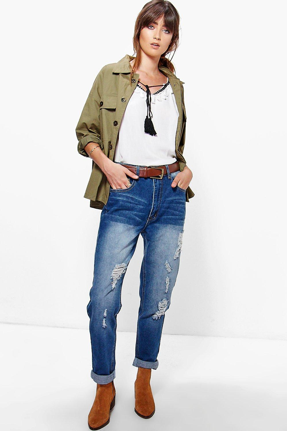 Hatty High Waist Distressed Boyfriend Jeans
