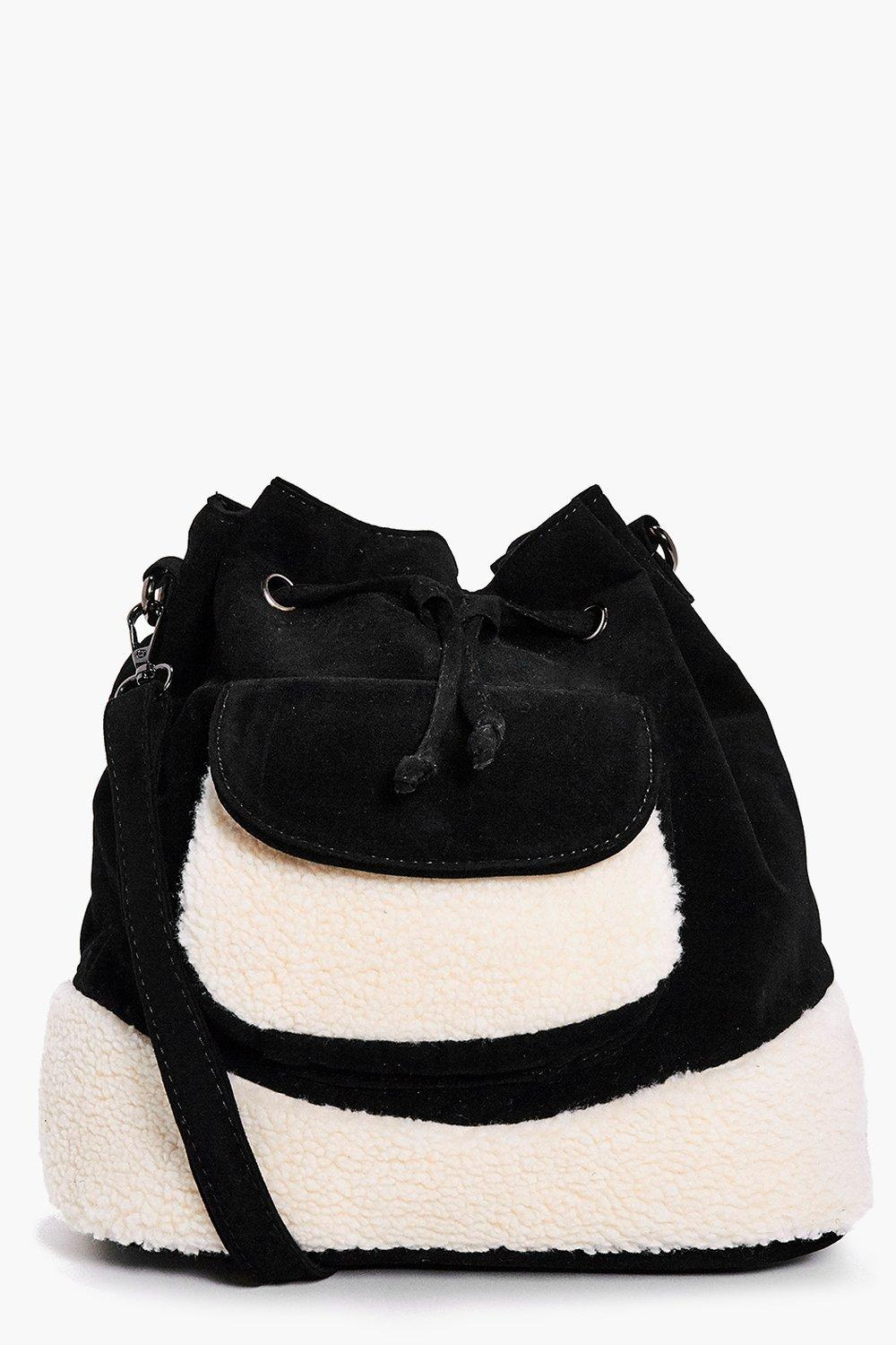 Anya Shearling Faux Fur Trim Duffle Bag