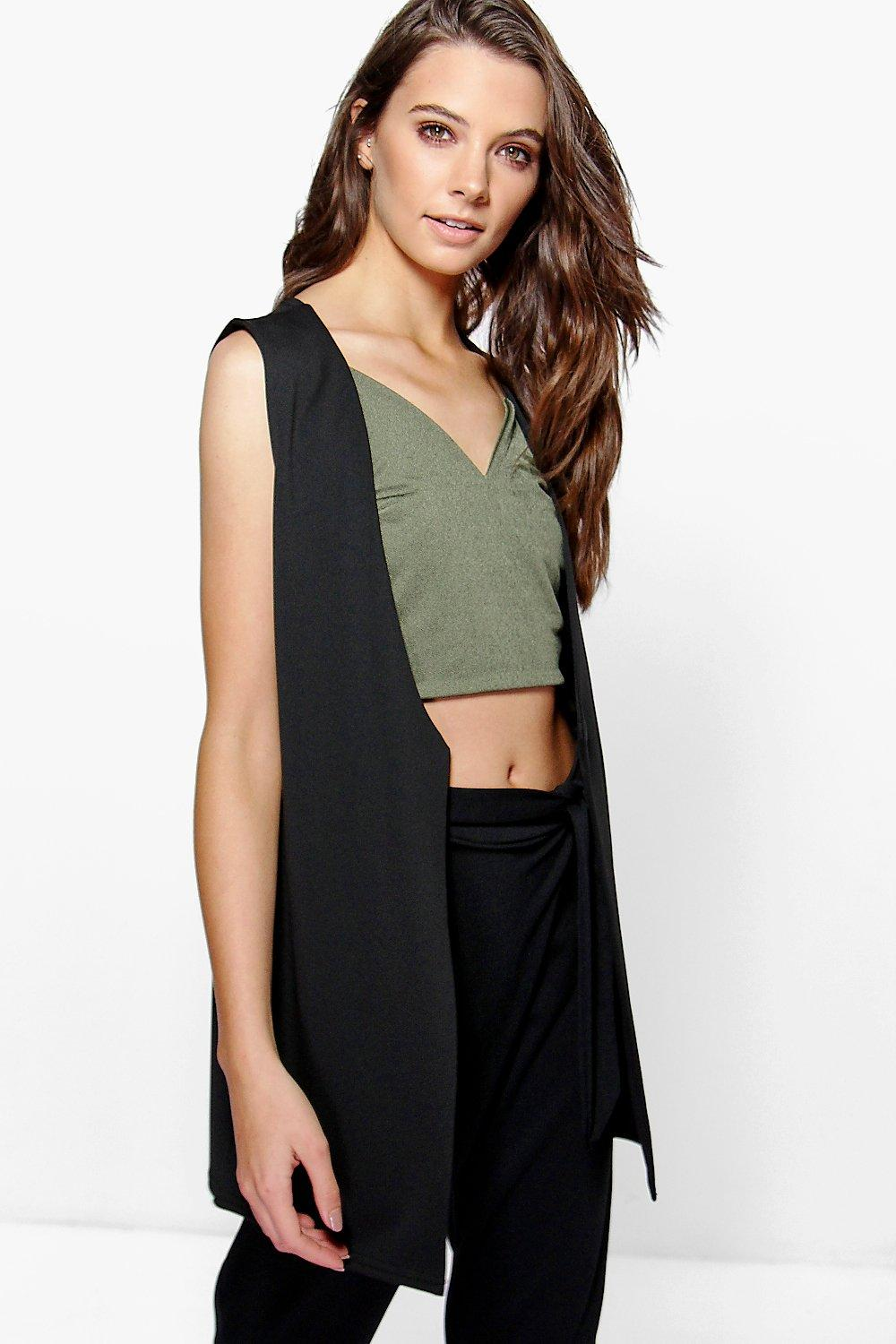 Charlotte Collarless Sleeveless Duster