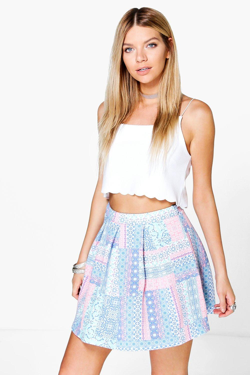 Briella Pastel Tile Print Box Pleat Skater Skirt