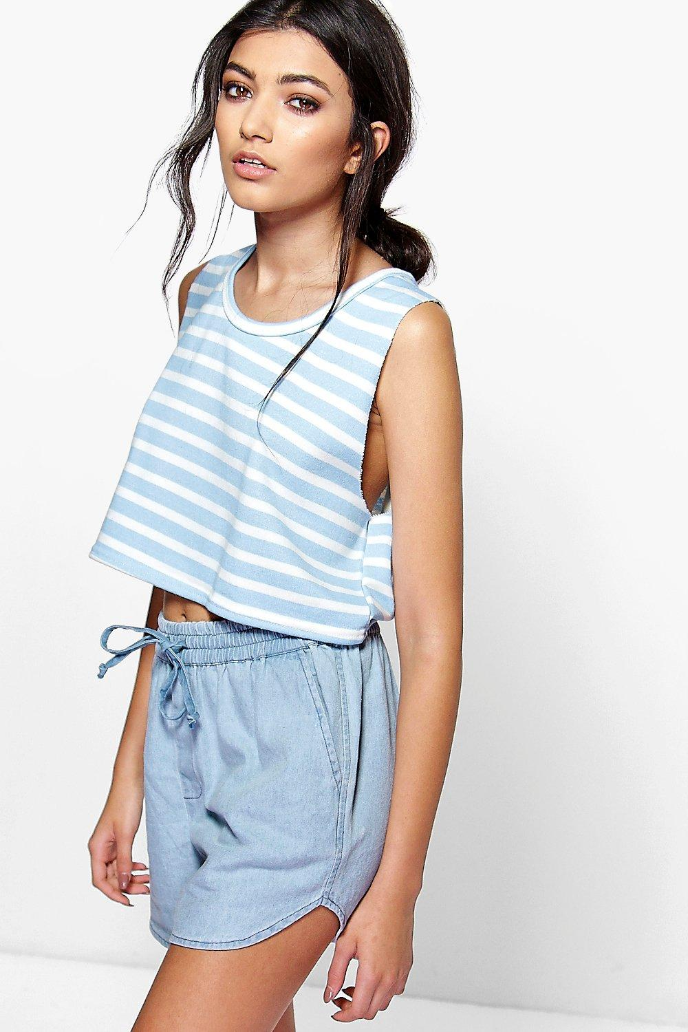 Mia Raw Edge Striped Crop Sweat