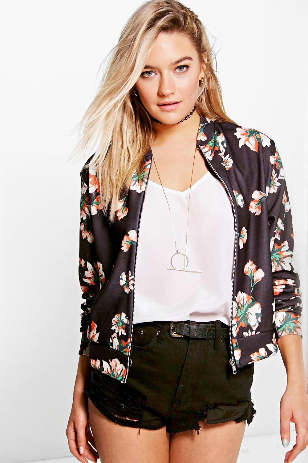 Faith Floral Jersey Bomber