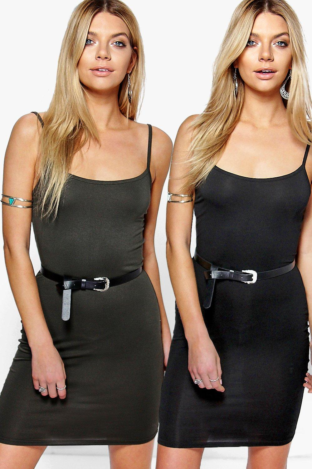 2 Pack Strappy Bodycon Dress