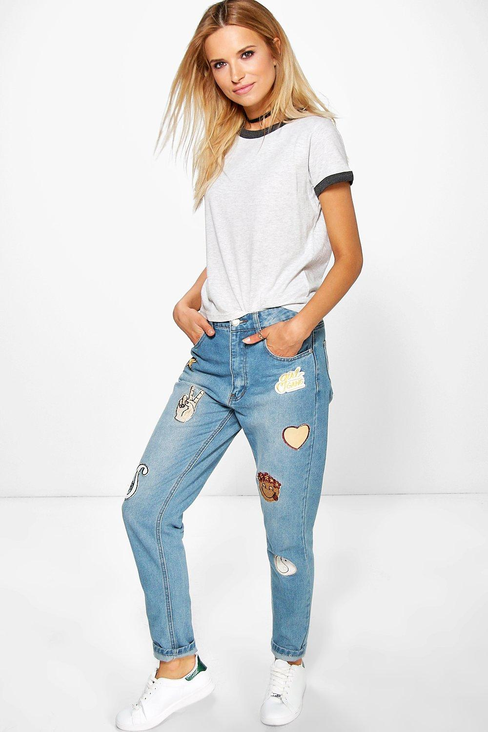 hatty high rise boyfriend jeans with badges at. Black Bedroom Furniture Sets. Home Design Ideas