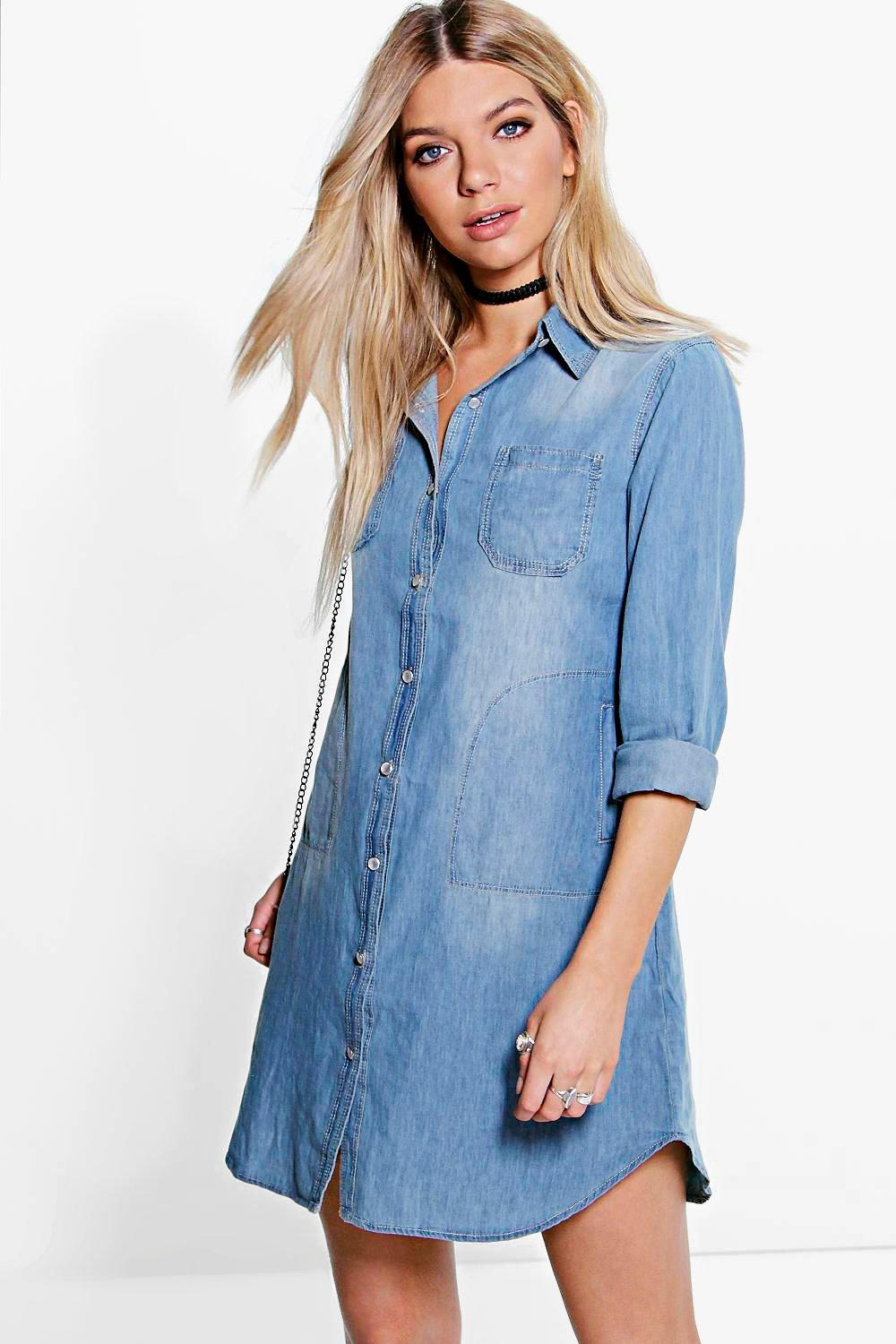 Donna Button Through Denim Shirt Dress