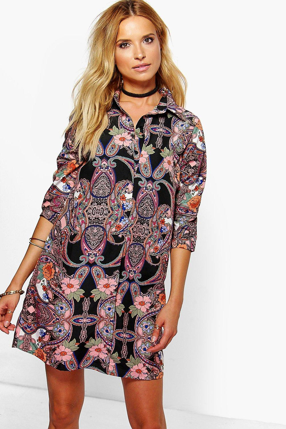Leandra Flower Print Shirt Dress
