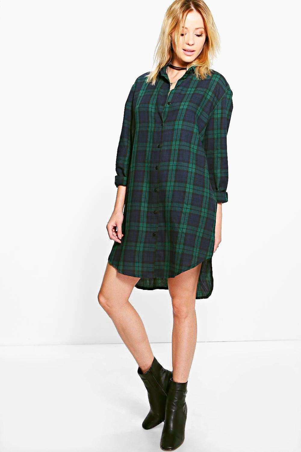 Huda Checked Dip Back Shirt Dress