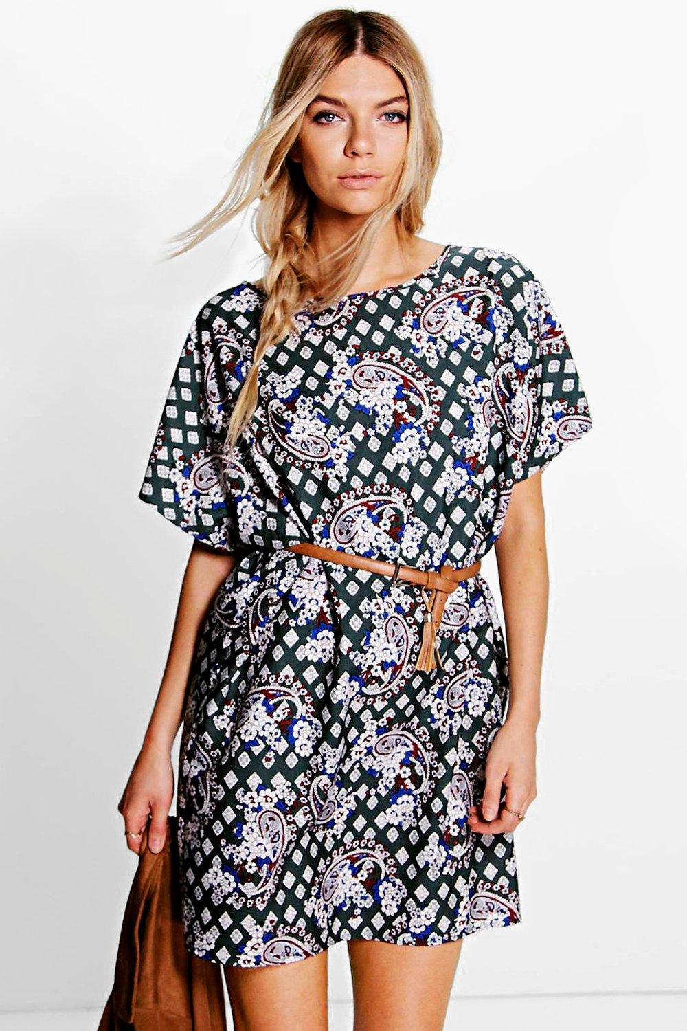 Daisy All Over Paisley Sleeve Shift Dress
