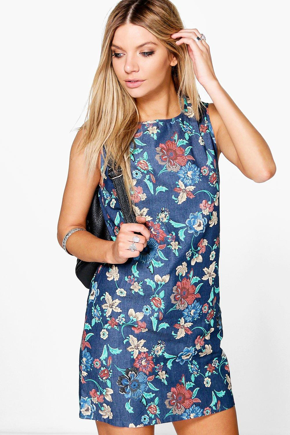 Katie Oriental Floral Sleeveless Shift Dress