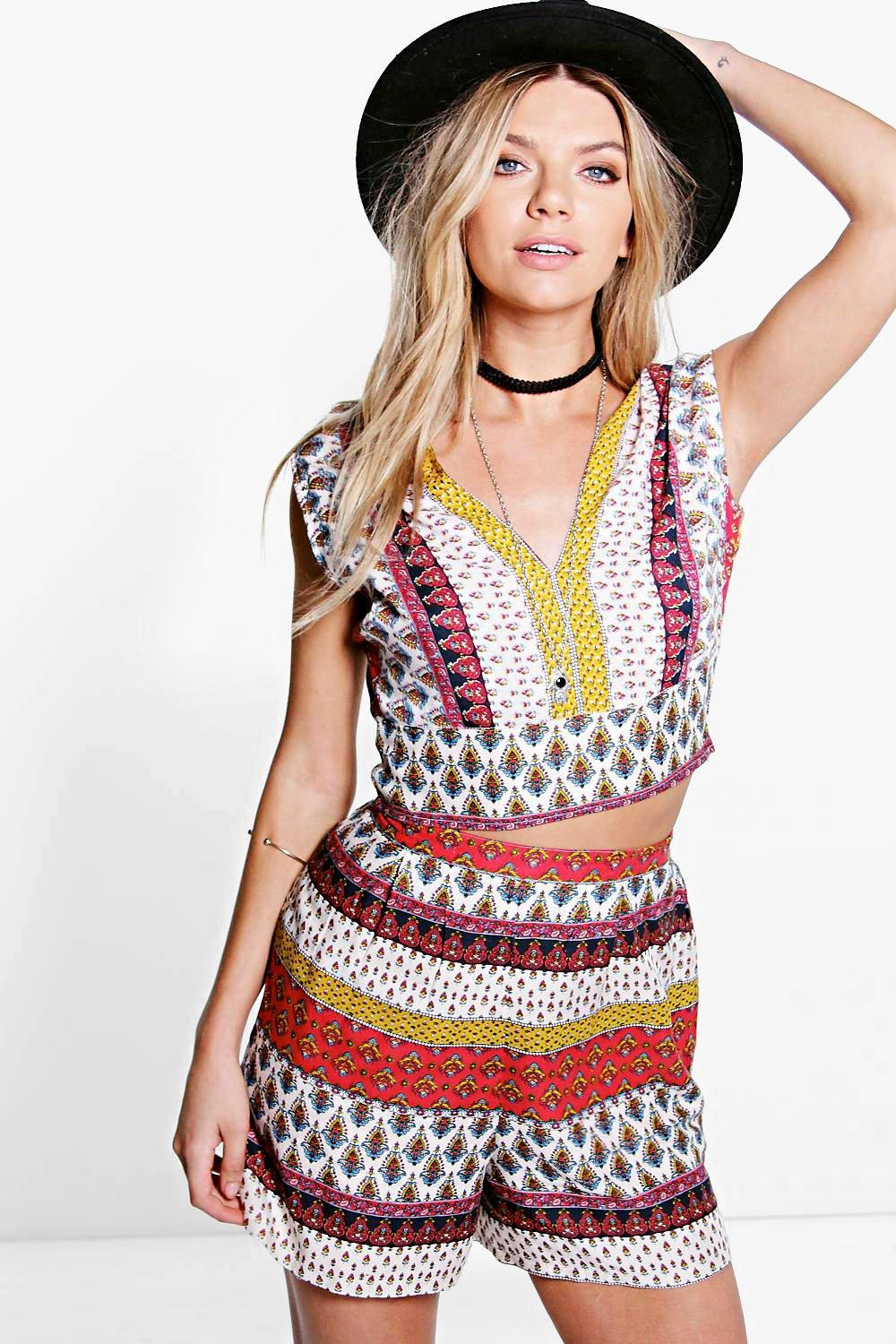 Darleen Paisley Crop & Short Co-ord Set