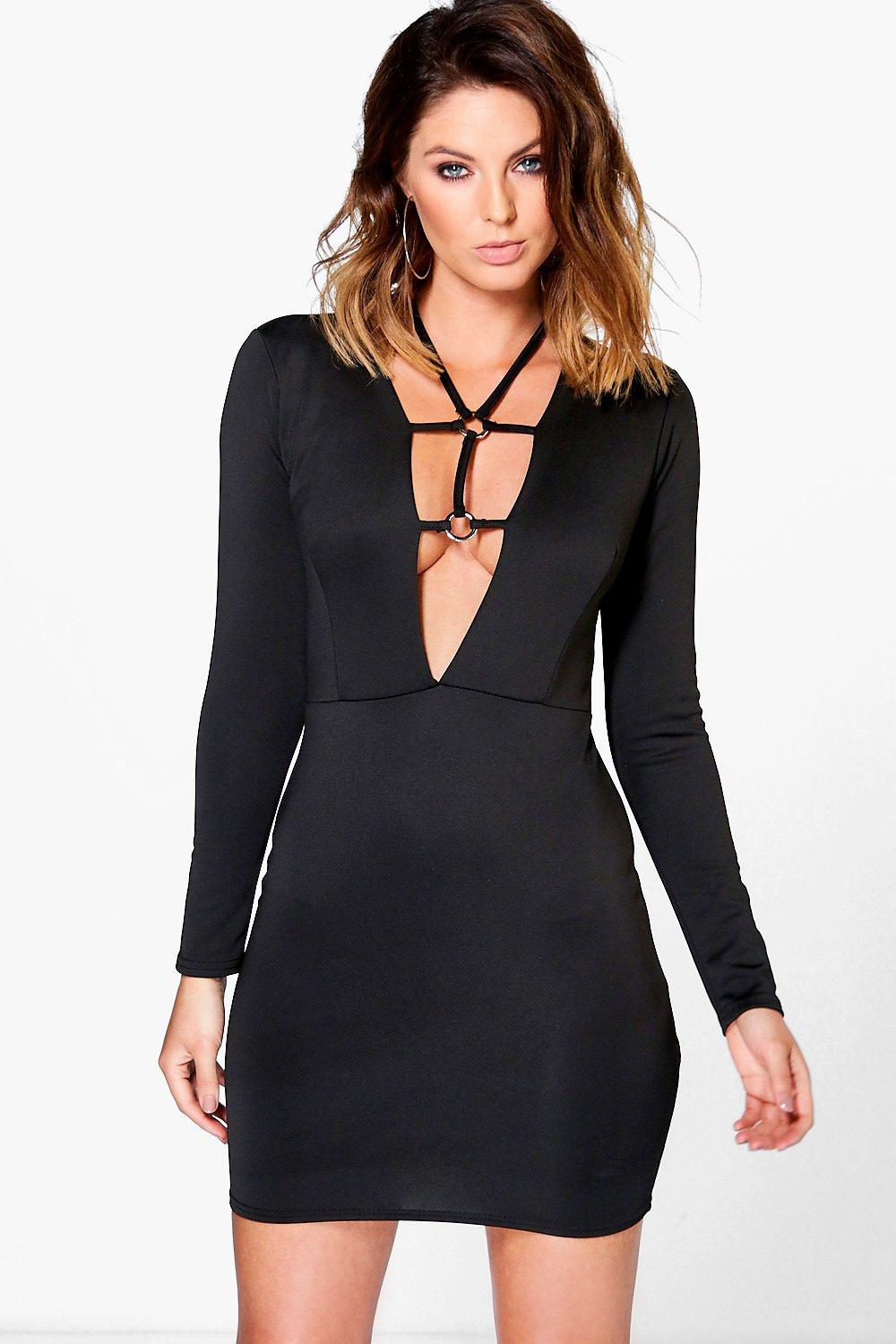 Nala Harness Front Long Sleeve Bodycon Dress