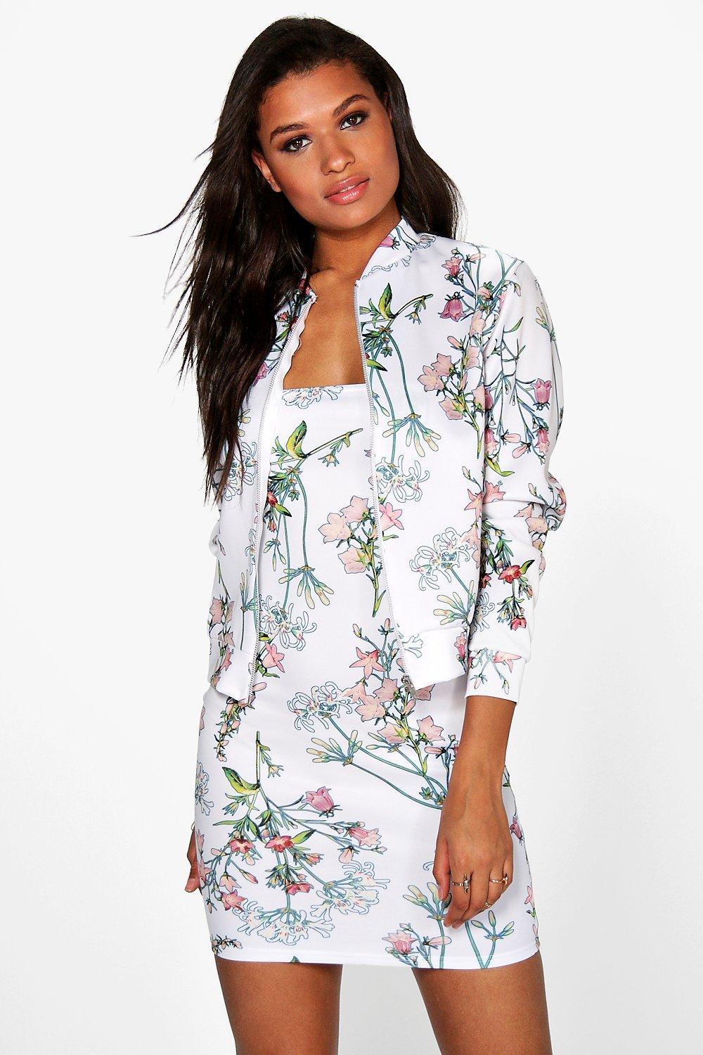 Ava Floral Mini Dress & Bomber Co-Ord Set