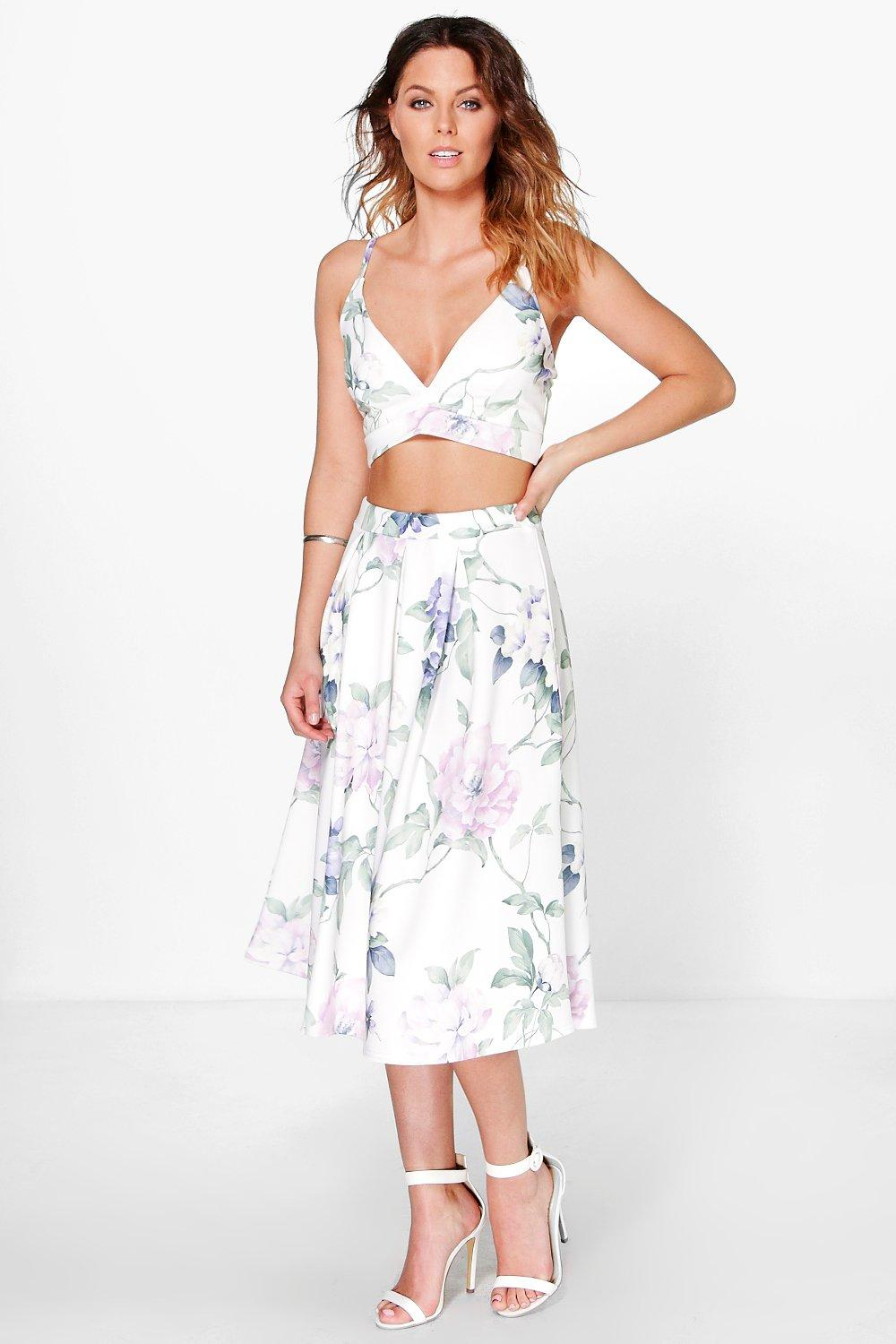 Olga Floral Bralet & Full Midi Skirt Co-Ord Set