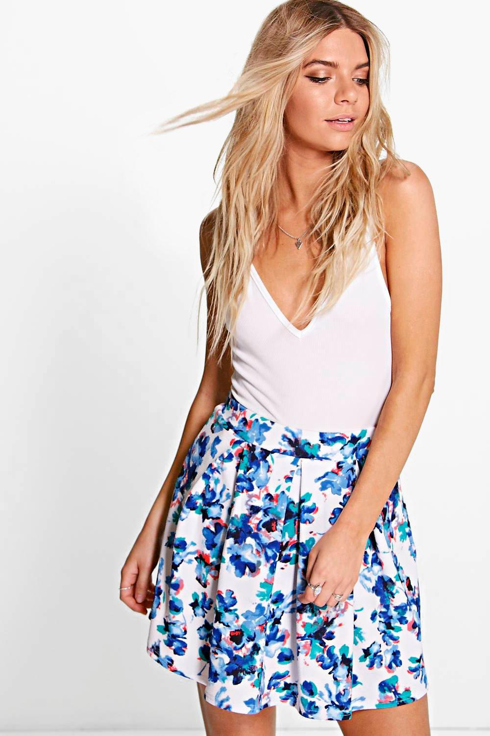 Alisia Box Pleat Floral Mini Skirt