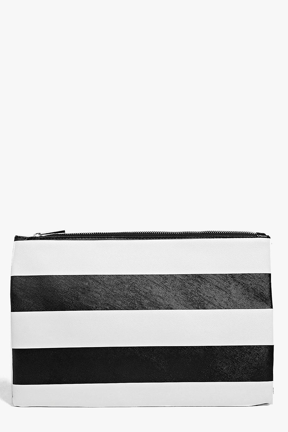 Evie Monochrome Stripe Clutch Bag