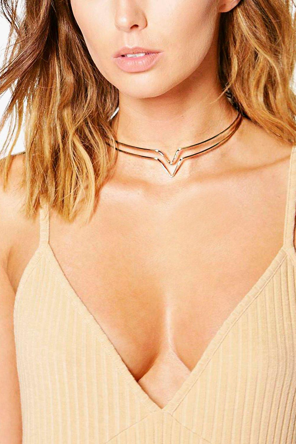 Martha Skinny Double Chevron Choker