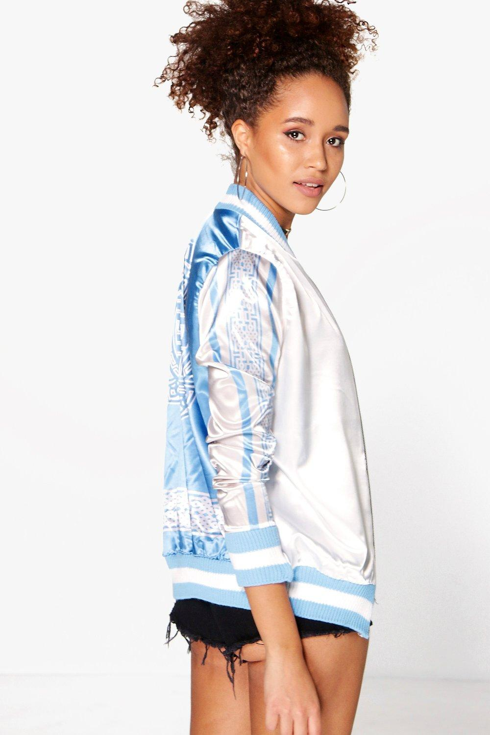 Alexis Printed Sleeve & Back Satin Bomber