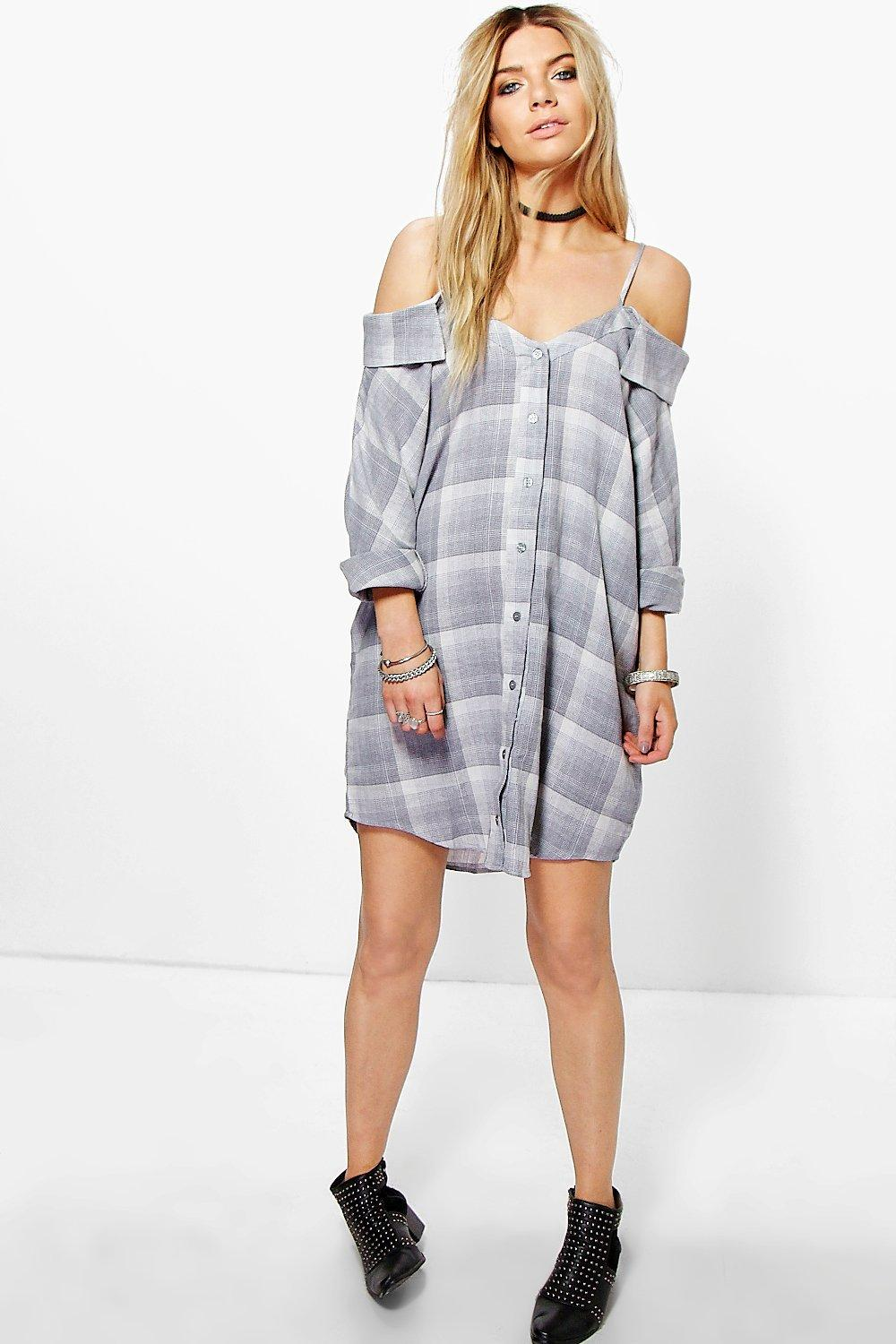 Harlow Cold Shoulder Checked Shirt Dress