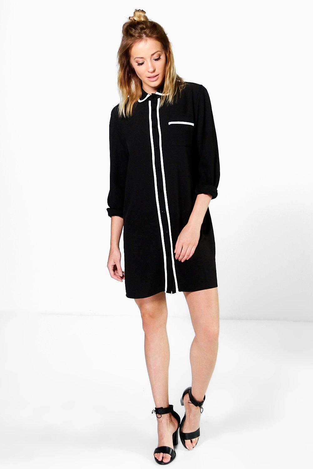 Lorraine Piped Contrast Shirt Dress