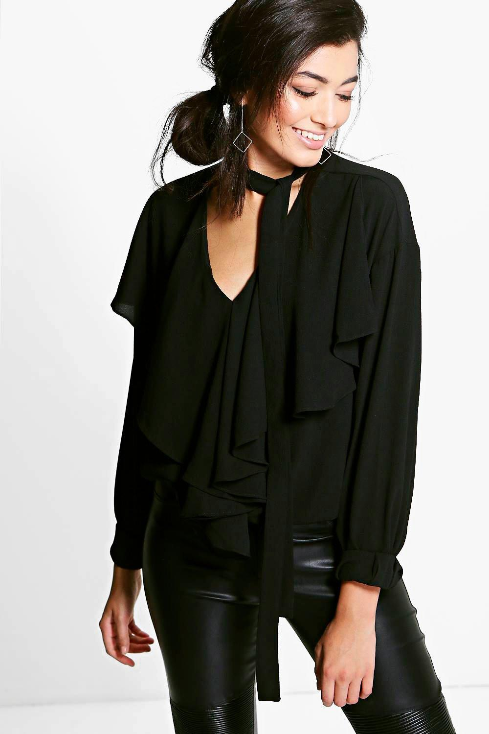 Lexi Tie Neck Ruffle Detail Blouse