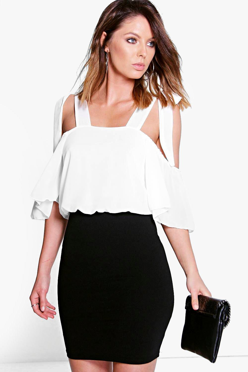 Olivia Off The Shoulder Contrast Bodycon Dress