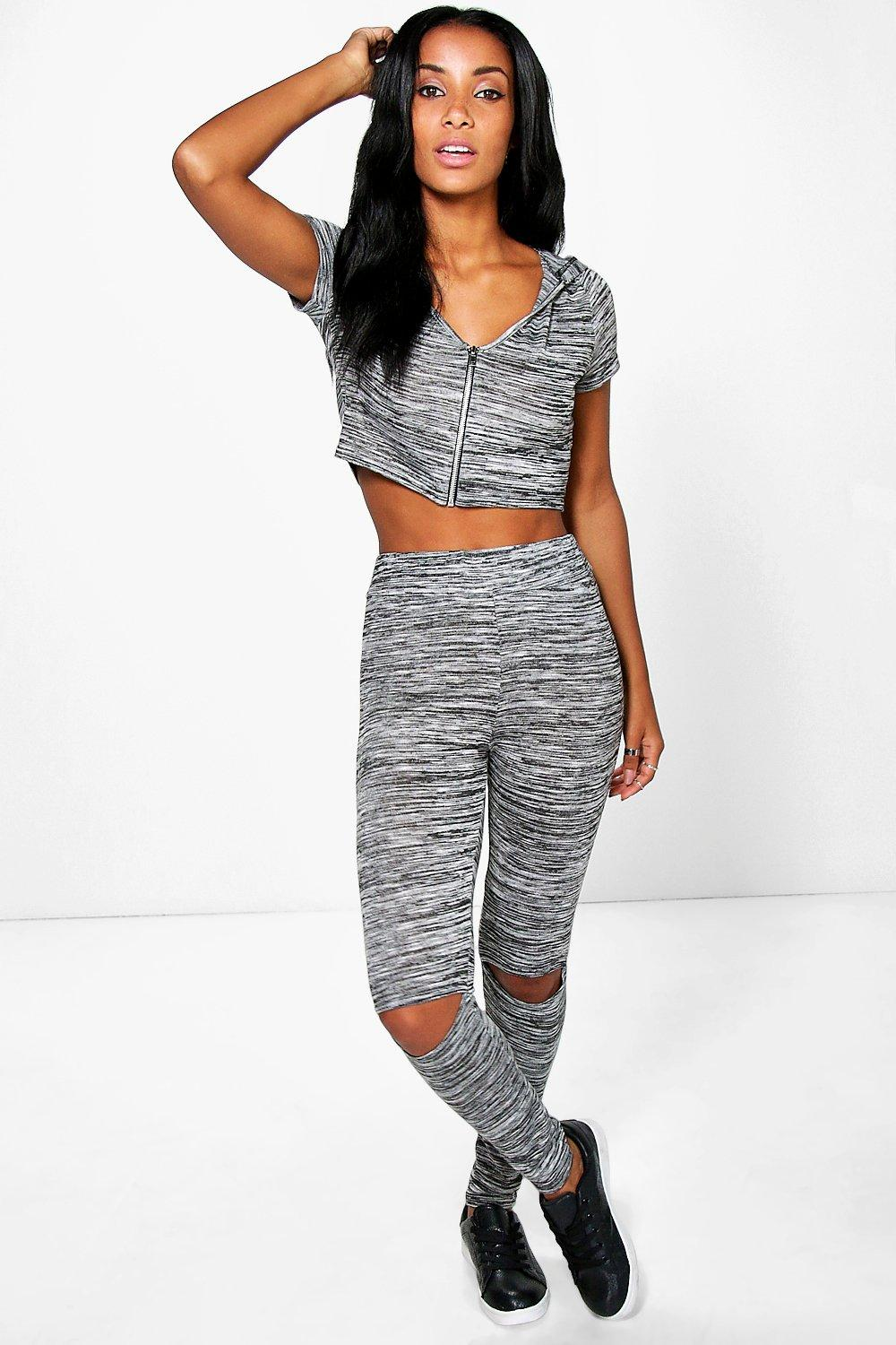 Amber Hooded Crop Knitted Loungewear Set